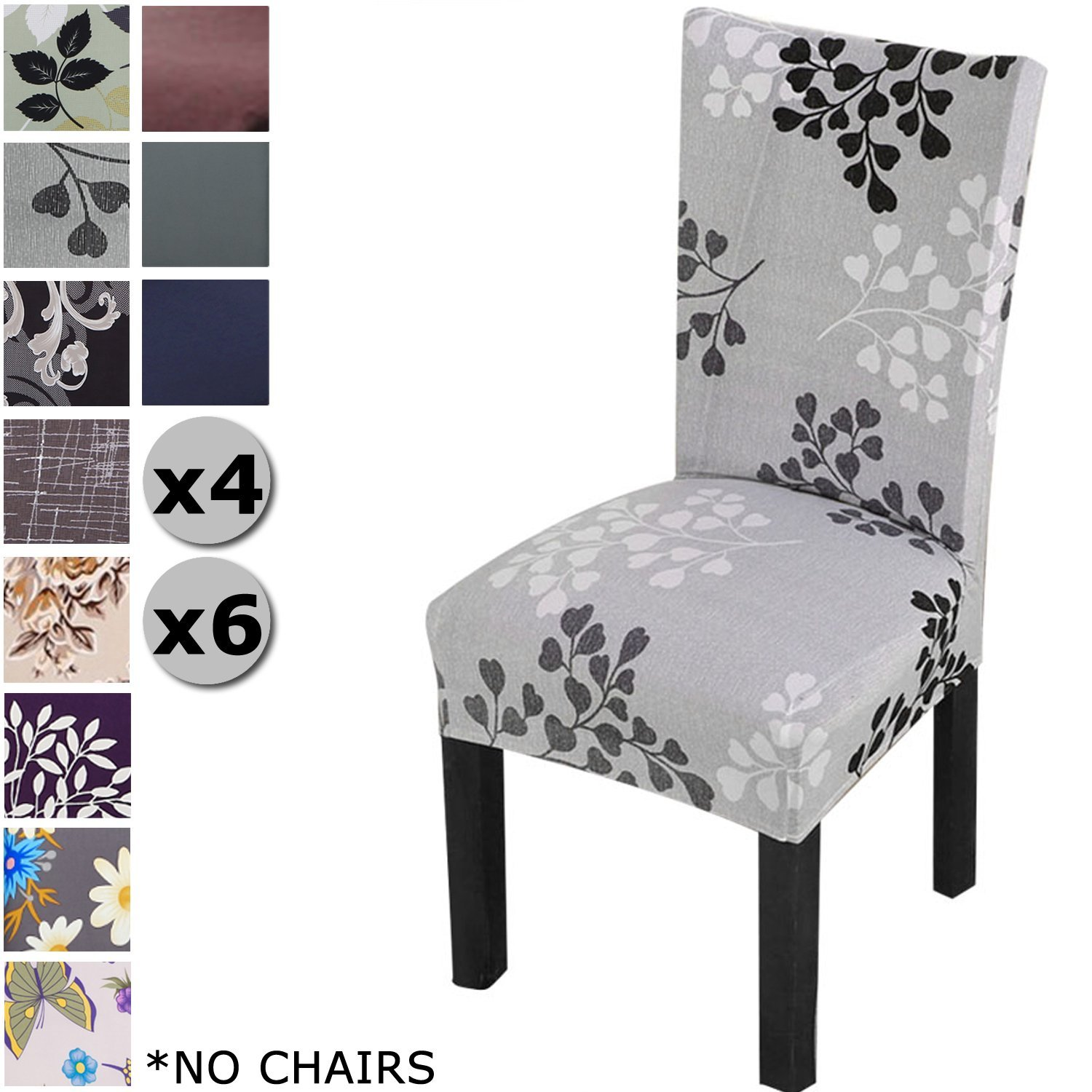 Yisun Modern Stretch Dining Chair Covers Removable Washable Spandex Slipcovers For High Chairs 4 6 Pcs Protective Light Grey